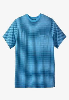 Shrink-Less™ Lightweight Longer-Length Crewneck Pocket Tee, ATLANTIC STRIPE, hi-res