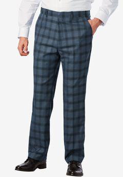 Easy-Care Classic Fit Expandable Waist Plain Front Dress Pants, SLATE BLUE WINDOW PANE