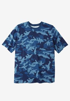 Heavyweight Crewneck Pocket Tee by Boulder Creek®, BLUE INDIGO CAMO, hi-res