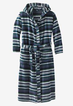 Terry Velour Hooded Maxi Robe, STRIPE