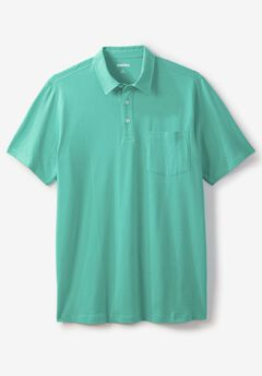 Shrink-Less™  Lightweight Short-Sleeve Polo Tee, TIDAL GREEN