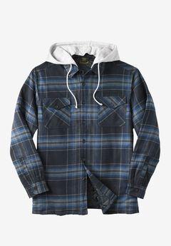 Removable Hood Shirt Jacket by Boulder Creek®, BLACK PLAID