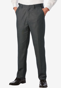 Easy-Care Modern Fit Expandable Waist Plain Front Dress Pants, GREY, hi-res