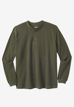 Waffle Knit Thermal Henley Tee, HEATHER OLIVE