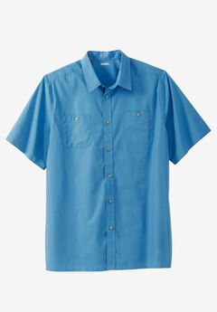 Short Sleeve Solid Sport Shirt, ATLANTIC, hi-res