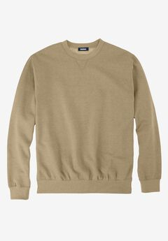 Fleece Crewneck Sweatshirt, HEATHER KHAKI, hi-res