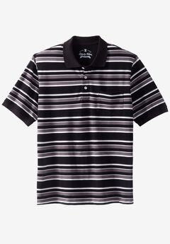 Classic Fit Stretch Polo by Liberty Blues®, STEEL MULTI STRIPE