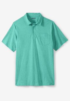 Shrink-Less™  Lightweight Short-Sleeve Polo Tee, TIDAL GREEN HEATHER