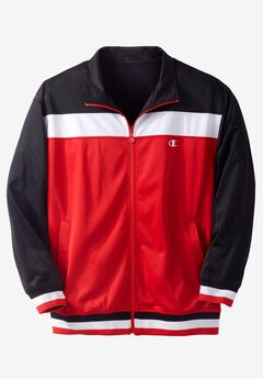 Velour Colorblocked Track Jacket by Champion®, BLACK, hi-res
