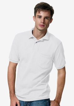 Hanes® ComfortBlend EcoSmart Jersey Polo with Pocket, WHITE, hi-res