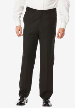 Expandable Waist Pleat-Front Pants,