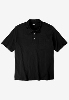 Shrink-Less™  Lightweight Short-Sleeve Polo Tee, BLACK