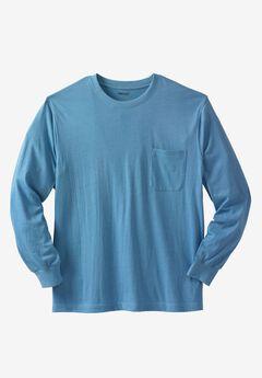 Shrink-Less™ Long Sleeve Pocket Crewneck Tee, HEATHER ATLANTIC, hi-res