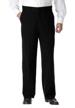 No Hassle® Classic Fit Expandable Waist Plain Front Dress Pants by KS Signature, BLACK