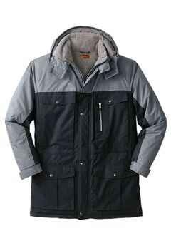 Colorblock Expedition Hooded Parka by Boulder Creek®, BLACK STEEL, hi-res