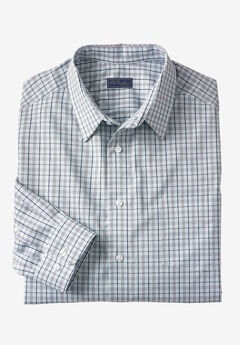 Modern Fit Long-Sleeve Broadcloth Flex Dress Shirt by KS Signature, SKY BLUE CHECK