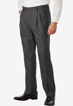 Easy-Care Classic Fit Expandable Waist Double-Pleat Front Dress Pants, GREY, hi-res