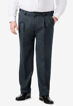 Classic Fit Wrinkle Free Expandable Waist Pleat Front Pants,