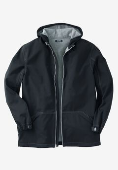 Fleece-Lined Rain Coat, BLACK