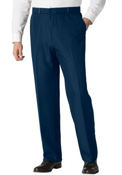 Easy-Care Classic Fit Elastic Waist Plain Front Dress Pants,