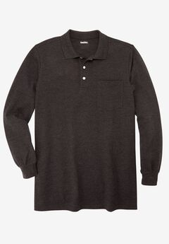 Longer-Length Long-Sleeve Piqué Polo, HEATHER CHARCOAL, hi-res