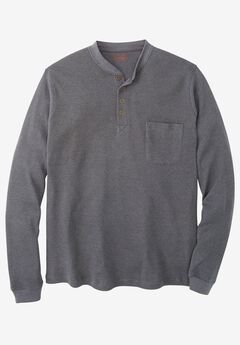 Easy-Care Pocket Longer-Length Henley by Boulder Creek®, HEATHER SLATE, hi-res