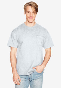 Lightweight Pocket Tee by Hanes®, ASH, hi-res