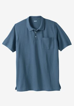 Longer-Length Piqué Pocket Polo, SLATE BLUE