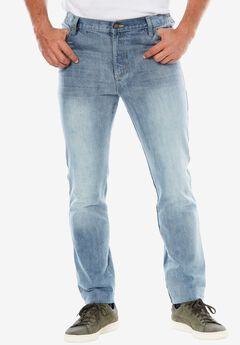 Straight Fit Side Elastic 5-Pocket Jeans by Liberty Blues®,
