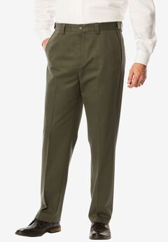 Classic Fit Wrinkle Free Expandable Waist Plain Front Pants, ANTIQUE PINE, hi-res