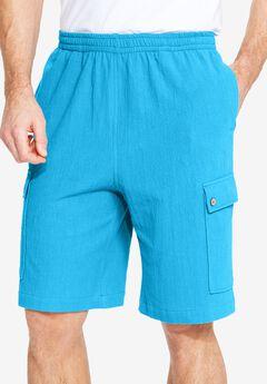 Gauze Cotton Cargo Shorts with Inside Drawstring, OCEAN BLUE, hi-res
