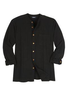 Gauze Mandarin Collar Button-Down Shirt, BLACK, hi-res