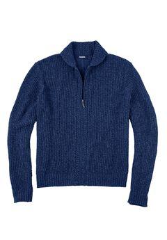 Shaker Knit Zip-Front Cardigan, NAVY MARL, hi-res