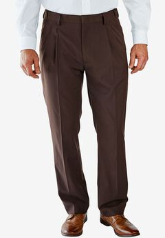 No Hassle® Classic Fit Expandable Waist Double-Pleat Dress Pants by KS Signature, BROWN