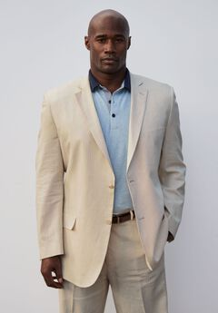 Linen Blend Two-Button Suit Jacket by KS Island™, NATURAL PINSTRIPE, hi-res