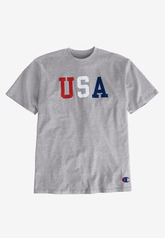 USA Graphic Tee by Champion®, HEATHER GREY, hi-res