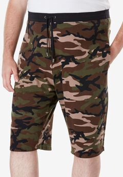 Cargo Sweat Shorts by MVP Collections®, OLIVE CAMO, hi-res