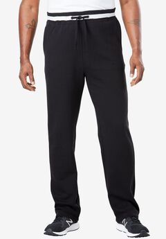 KingSize Coaches Collection Fleece Open Bottom Pants, BLACK, hi-res
