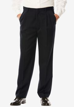 No Hassle® Modern Fit Expandable Waist Double-Pleat Dress Pants, BLACK