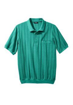Banded Bottom Textured Polo Shirt, TIDAL GREEN, hi-res