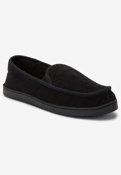 Cotton Corduroy Slippers, BLACK, hi-res