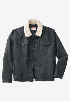 Classic Faux Leather Trucker Jacket by Levi's®, BLACK, hi-res