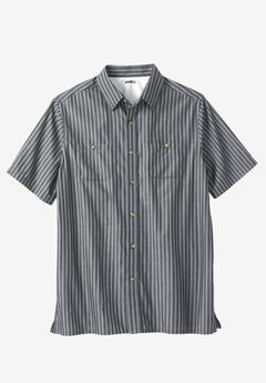 Easy-Care Short-Sleeve Striped Sport Shirt, BLACK STRIPE, hi-res