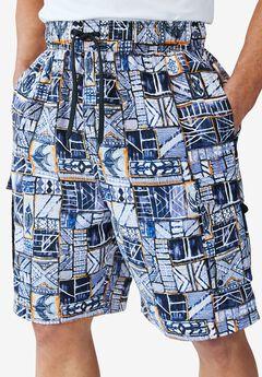 Printed Cargo Swim Shorts by KS Island™, ORANGE BATIK, hi-res