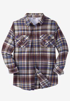 Long-Sleeve Plaid Flannel Shirt , RAISIN PLAID, hi-res