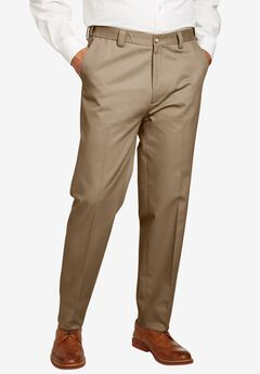 Athletic Fit Wrinkle Free Expandable Waist Plain Front Pants,