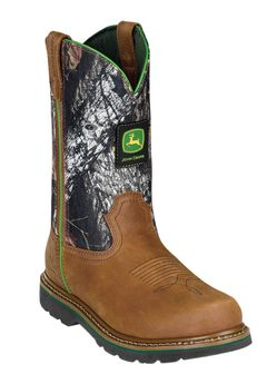 John Deere 11' Pull-On Camo Steel Toe Boots,