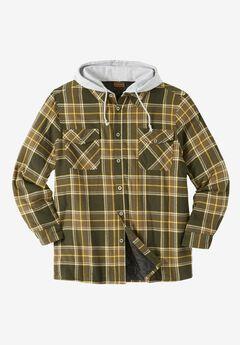 Removable Hood Shirt Jacket by Boulder Creek®, FOREST PLAID, hi-res