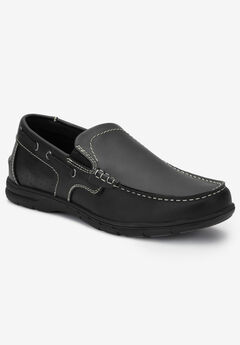Slip-On Boat Shoes, BLACK, hi-res