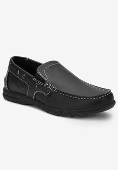 Slip-On Boat Shoes, BLACK, hi-res